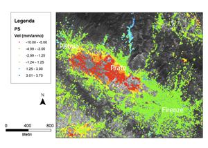 Fig.9: Subsidenza nell'area di Prato e Pistoia,